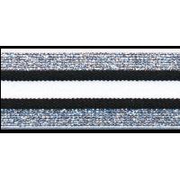 Elastique, 30mm, rayé noir-blanc avec de l'argent - par 25cm