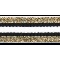 Elastiek, 30mm, gestreept zwart-wit met goud- per 25cm
