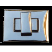 Draaisluiting voor tassen, 39 x 29mm, rechthoekig, zilverkleurig