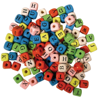 Wooden letter beads, 10x10mm