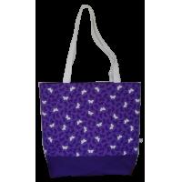 Shoulder bag, violet with butterflies