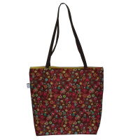 Shoulder bag, brown with flowers