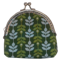 Coin purse, green with leaves
