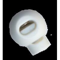 Koordstoppers, met 1 gaatje, rond, 23mm, wit