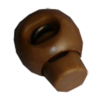 Cord stops, with 1 hole, rond, 23mm, brown