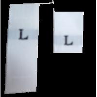Size labels white - L (per 10)