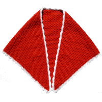 Crochet shawl, red/white