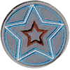 Application star, reflective, blue