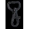 Musketonhaak, klein, 4x2cm, zwart, ronde haak