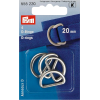 D-rings, 20mm, silver-coloured matt, 4pce