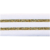 Elastic, 30mm, striped white with gold - per 25cm