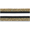Elastic, 30mm, striped black-white with gold - per 25cm