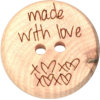 Bouton, 20mm, en bois, Made with love