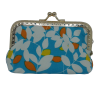 Purse, blue with leaves