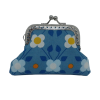 Purse, blue with flowers