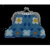 Porte-monnaie, bleu avec des fleurs