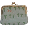 Coin purse, green with little mouse