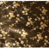 Oilcloth, black with silver/gold flowers, per 25cm