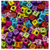 Plastic letter beads, colormix, 7mm
