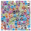 Plastic letter beads, white, 7mm